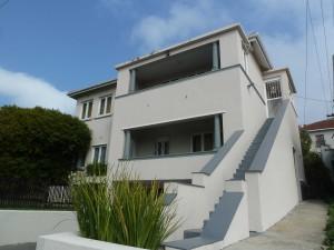 Dit is de voorkant van het studentenhuis in Green Point, Kaapstad